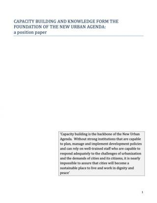 Capacity Building and Knowledge Form the Foundation of the New Urban Agenda: a position paper - 2016
