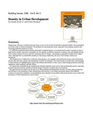 Density in Urban Development - Summary - Building Issues - 1996
