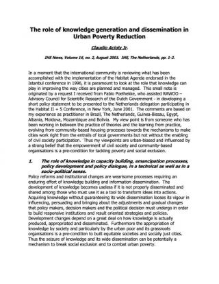 The role of knowledge generation and dissemination in Urban Poverty Reduction - 2001