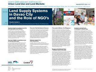 Land Supply Systems in Davao City and the Role of NGO's - 2007