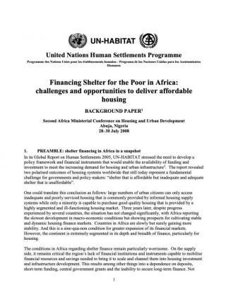 Financing Shelter for the Poor in Africa: challenges and opportunities to deliver affordable housing - Background paper - 2008