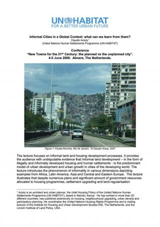 Informal Cities in a Global Context: What can we learn from them? - 2009