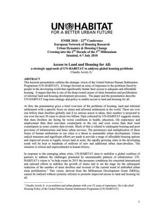 Access to Land and Housing for All: a strategic approach of UN-HABITAT to address global housing problems - 2010