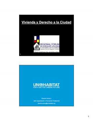 Vivienda y Derecho a la Ciudad - Regional Forum on Adequate Housing in Latin America and the Caribbean - Spanish - 2011