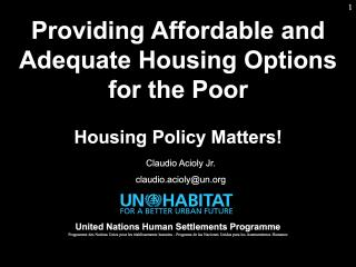 Housing Course - 5 - Housing Policy Formulation  - 2018