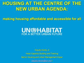 Housing at the Centre of the New Urban Agenda - EU Partnership Vienna - 2018