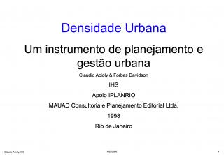 Urban Densities - Portuguese - 1998
