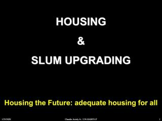 Housing and Slum Upgrading - Housing the Future: adequate housing for all - 2011