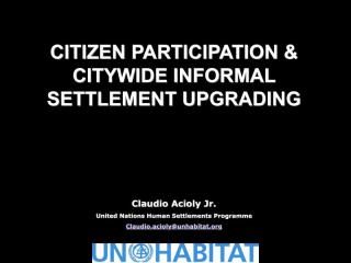 Citizen Participation and Citywide Informal Settlement Upgrading - 2012