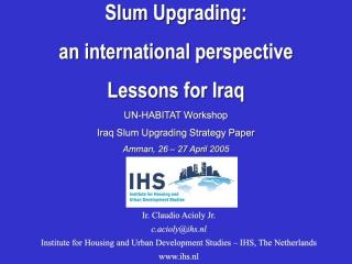 Slum Upgrading: an international perspective - Lessons for Iraq - 2005