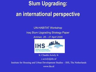 Slum Upgrading: an international perspective - 2006