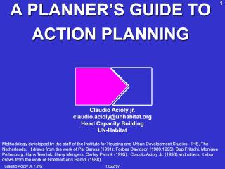 A Planner's Guide to Action Planning - Step per Step Introduction - IHS Korea - 2015