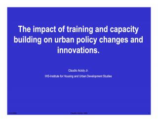 The impact of training and capacity building on urban policy changes and innovations - 2 - 2004