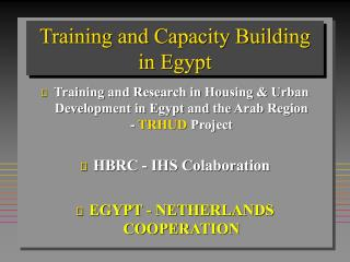 Training and Capacity Building in Egypt - TRHUD Project Framework - 2004