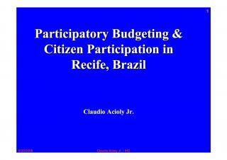 Participatory Budgeting and Citizen Participation in Recife, Brazil - 2006