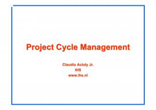 Project Cycle Management - 2006