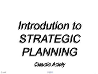 Introduction to Strategic Planning - 2001