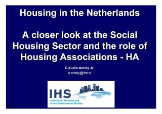 Introduction to Housing Policies or How to Make Possible Access to Housing - Full presentation - 2007