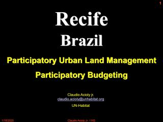 Recife, Brazil - Participatory Urban Land Management - Participatory Budgeting - 2008