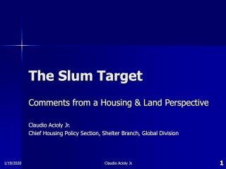 The Slum Target - Comments from a Housing and Land Perspective - 2008