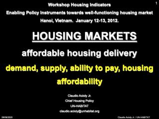 Housing Markets - Affordable Housing Delivery - demand, supply, ability to pay, housing affordability - 2012