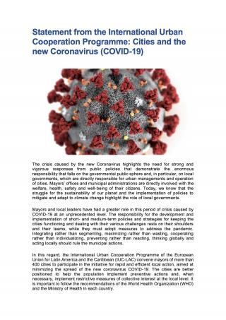 Statement from the International Urban Cooperation Programme: Cities and the new Coronavirus (COVID-19) - 2020